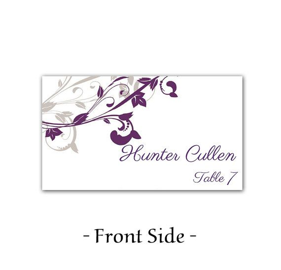 Whimsical Vines Wedding Place Cards Microsoft Word Template  Purple