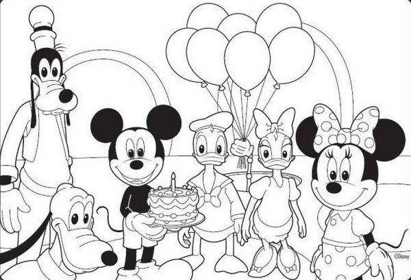 Birthday Mickey Mouse Coloring Pages | Mickey mouse ...