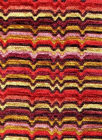 """Zaney Candy Apple.  Valdese Weavers - Circa 1801 Fabric. Heavy chenille jacquard for drapery or upholstery. 24 oz, H 4.5"""", V 5.25"""" repeat. 78% rayon, 22% poly. 54"""" wide."""
