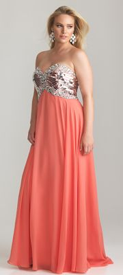 58ab013e026 Coral Chiffon   Sequin Sweetheart Empire Waist Plus Size Prom Dress ...
