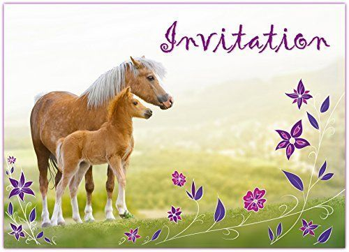 Sophies Kartenwelt 12 Cartes d'invitation Anniversaire Enfant Cheval // Cartes In… | Carte ...