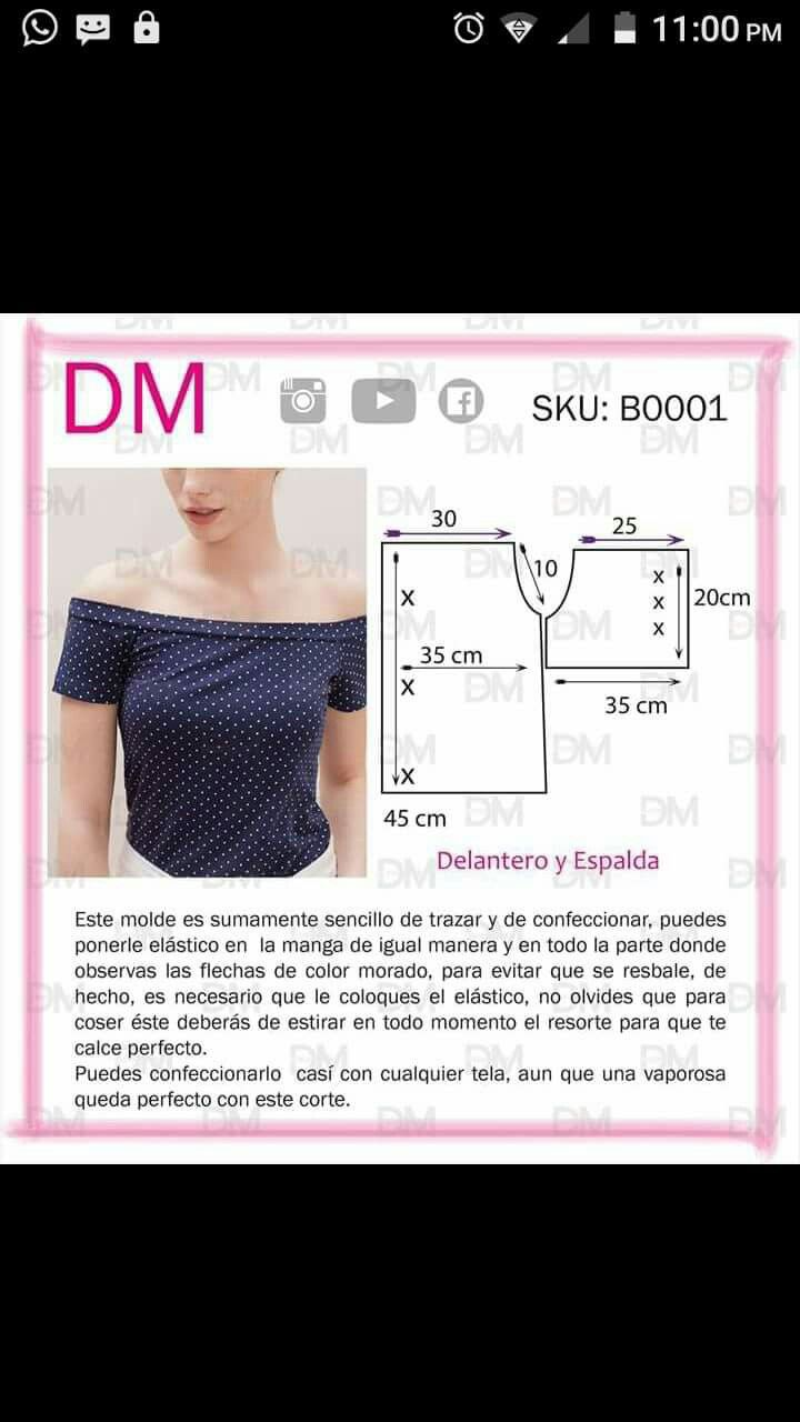 Off shoulder top | Pola | Sewing, Sewing patterns y T shirt sewing ...