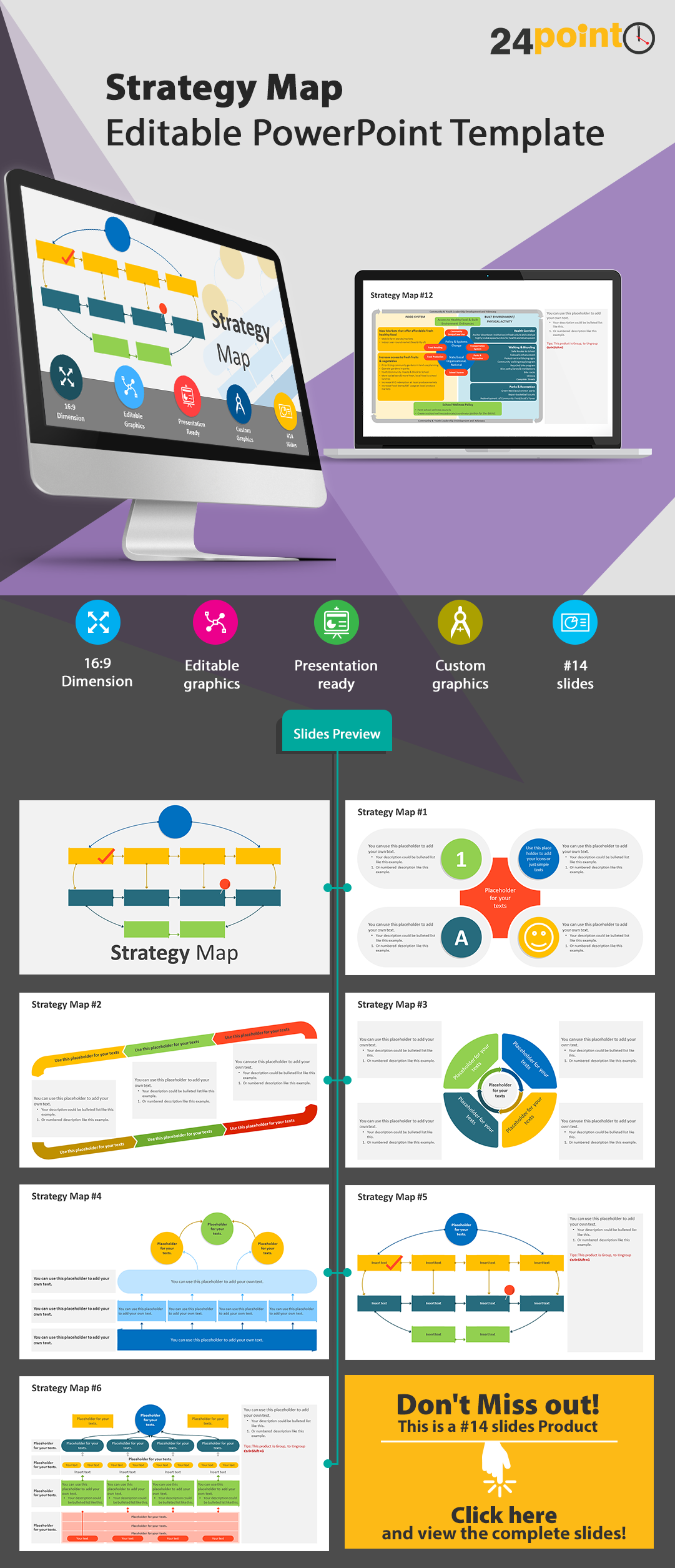 Use This 18 Editable Slide Of Our Strategy Map Template That Can To