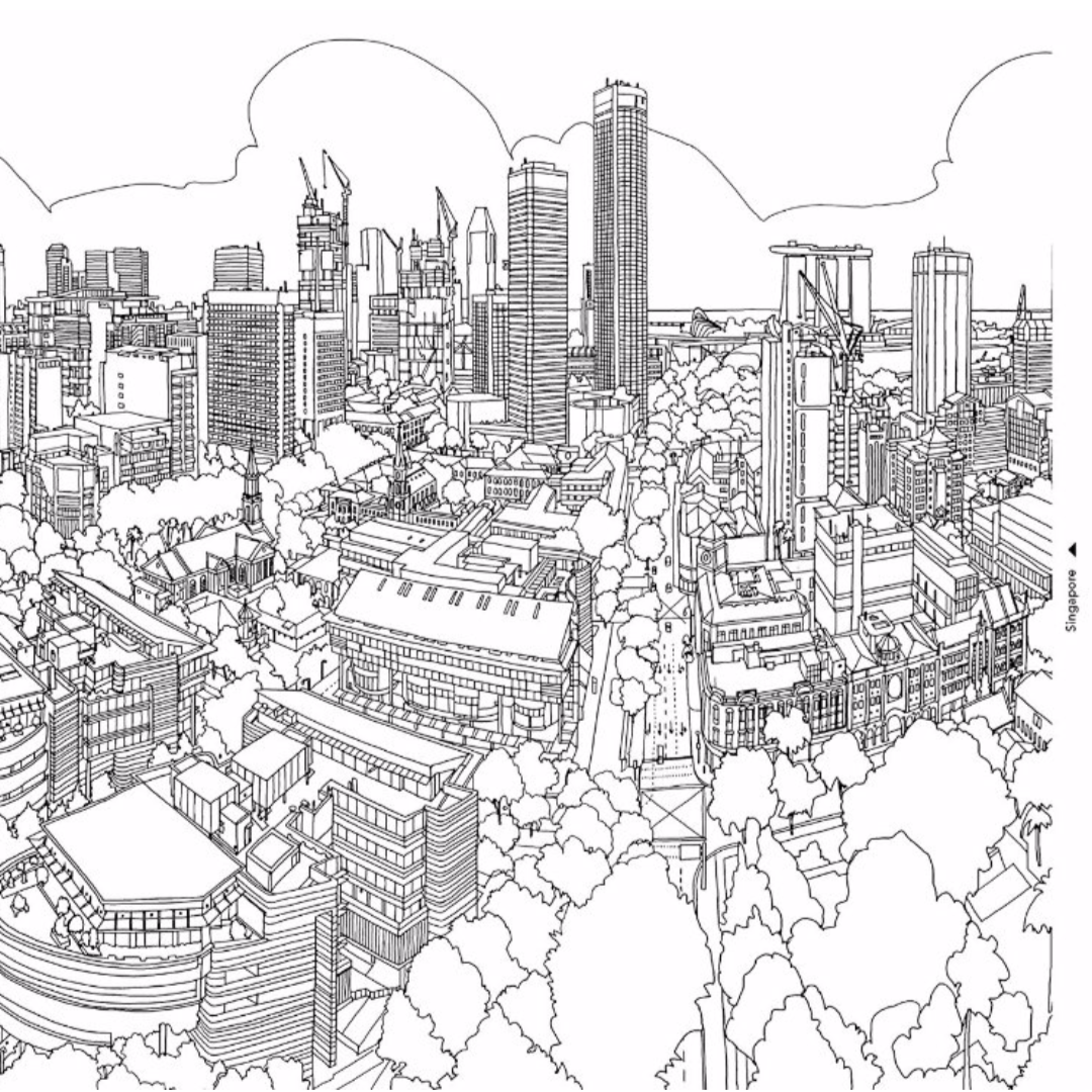 coloring for adults cityscapes