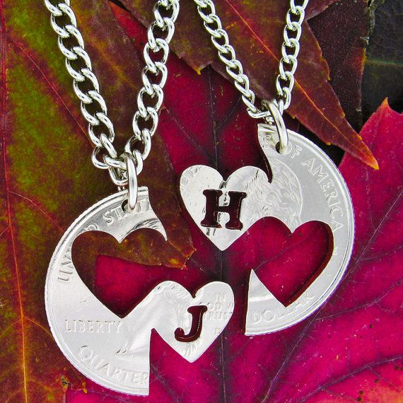 Double Heart relationship set with initials, hand cut coin
