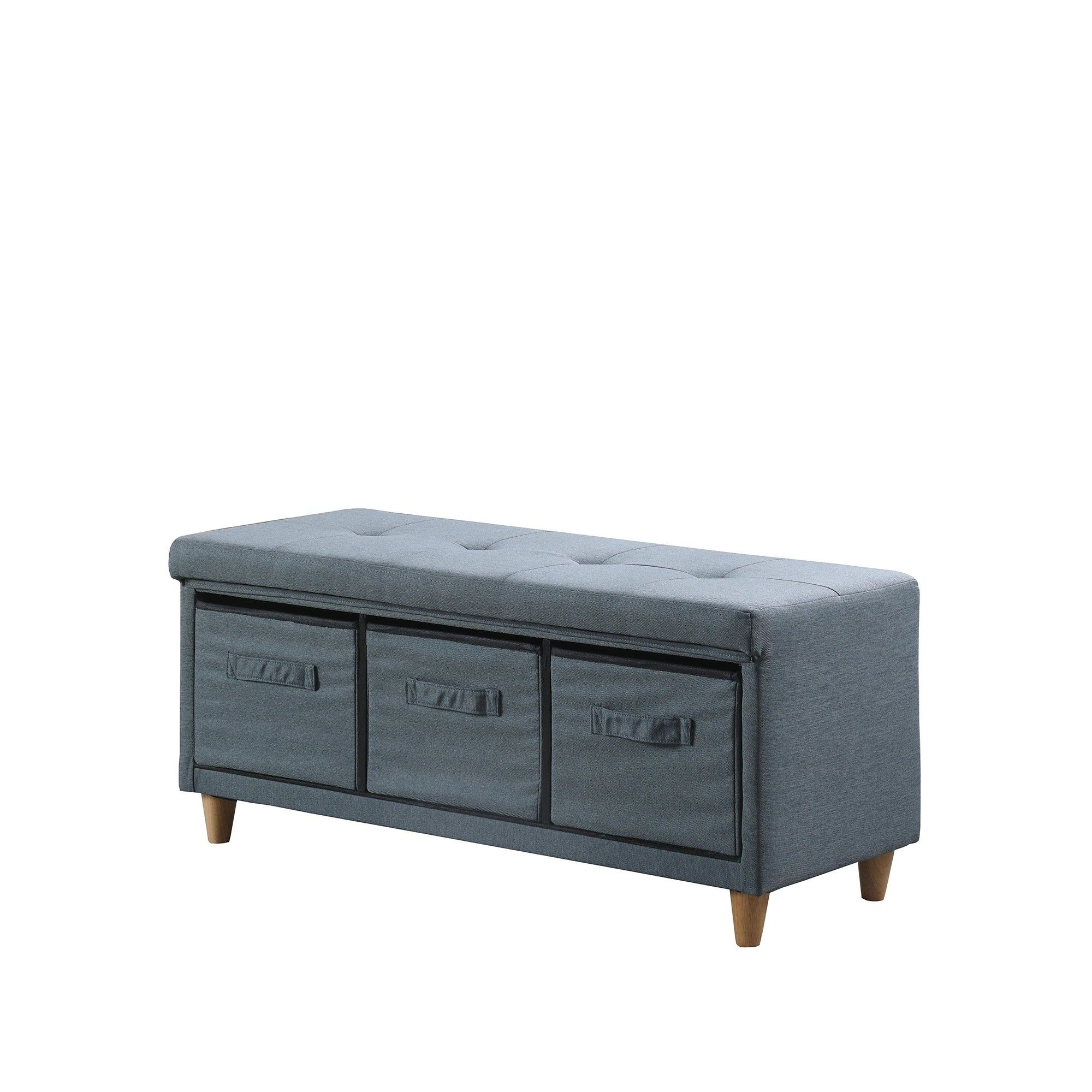 Magnolia Blue Grey Tufted Bench With Storage Basket Drawer Gray