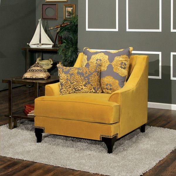 Living Room Furniture Deals: Furniture Of America Visconti Premium Fabric Chair (Gold