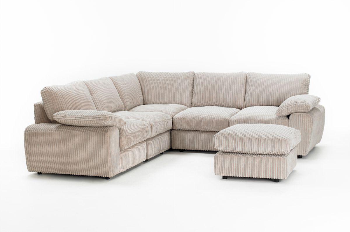 Jumbo Cord Corner Sofa In Cream Grey Or Brown Marlow Sofasos Com 799 Modular Corner Sofa Corner Sofa Lounge Velvet Sofa Living Room