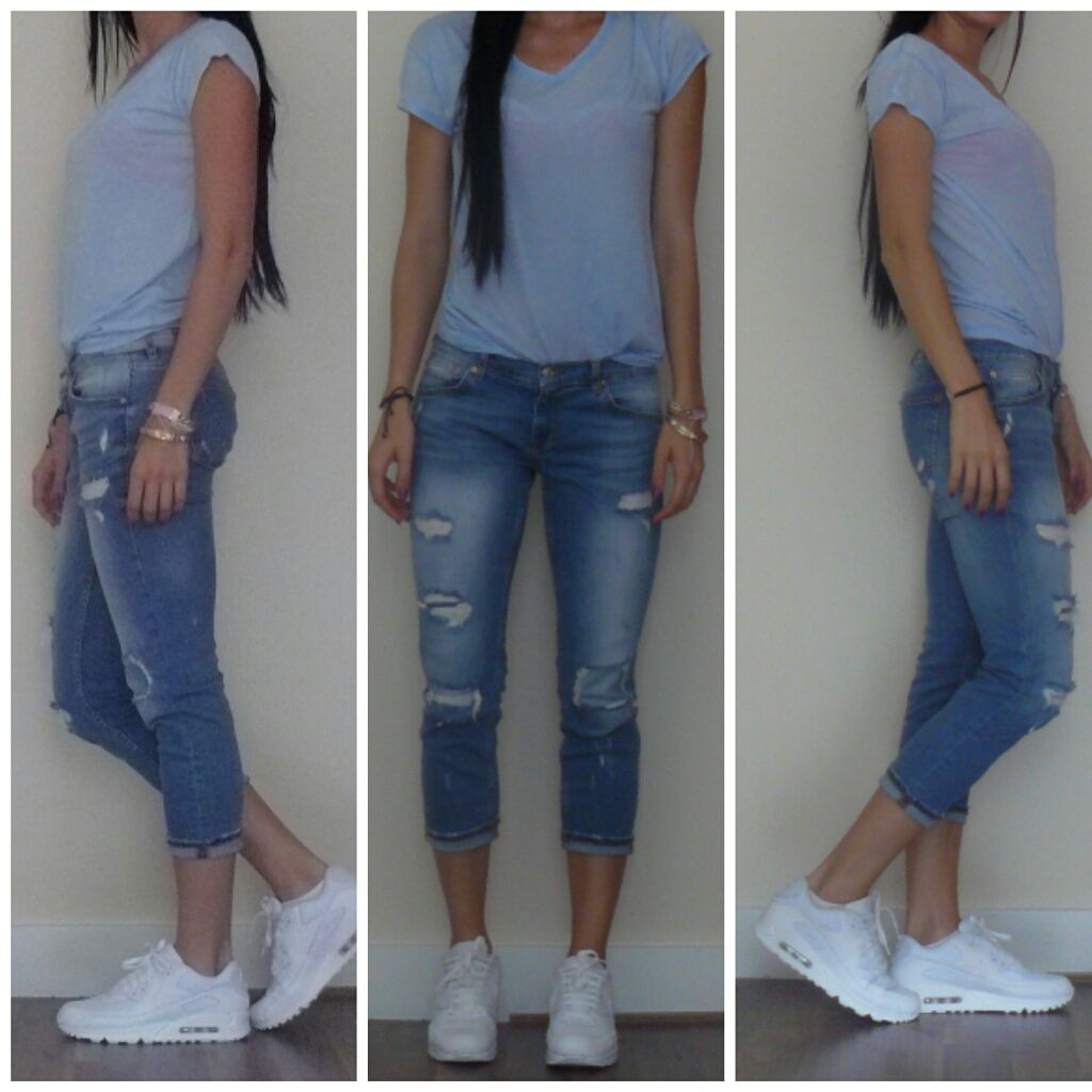 big sale 1f787 51c26 White AirMax, Ripped Jeans Senior Year, Air Max, Ripped Jeans, Capri Pants