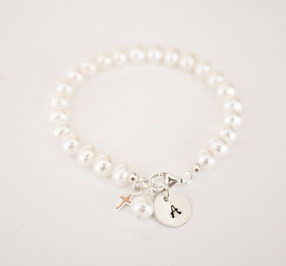 Hand Stamped Baby Charm Bracelet Initial Freshwater Pearl Newborn Christening Gift Twins Via Etsy