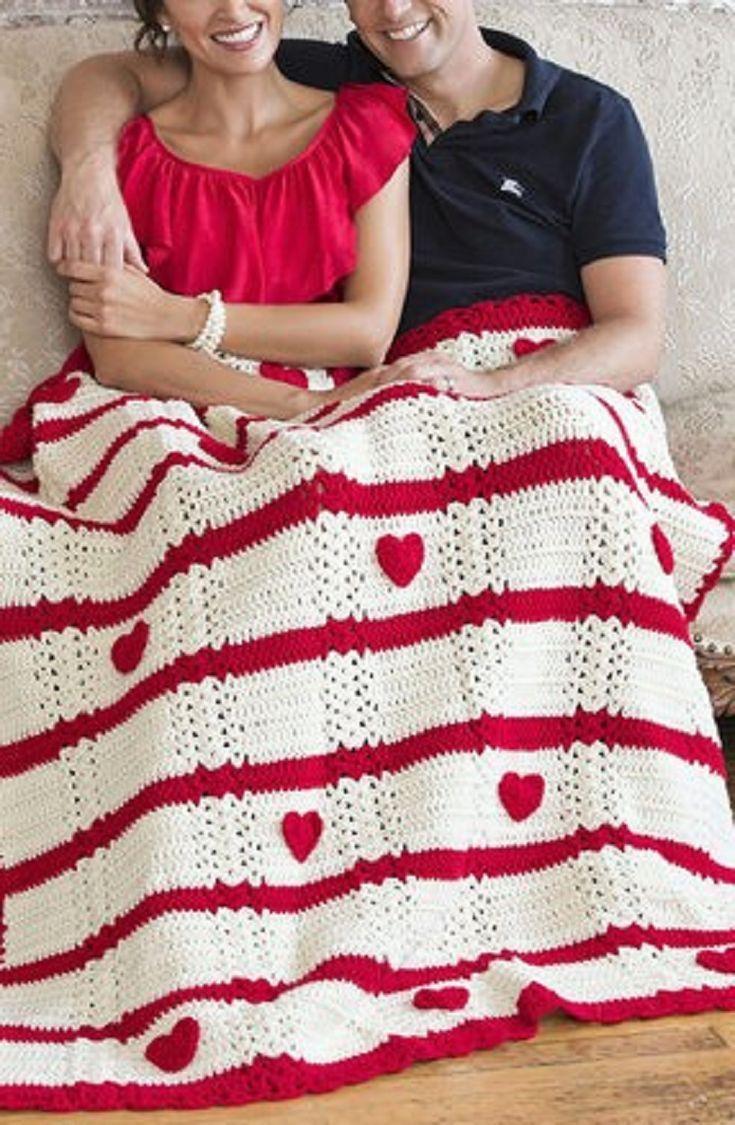 DIY Crochet Valentine Heart Afghan -Free Pattern #CrochetValentines ...