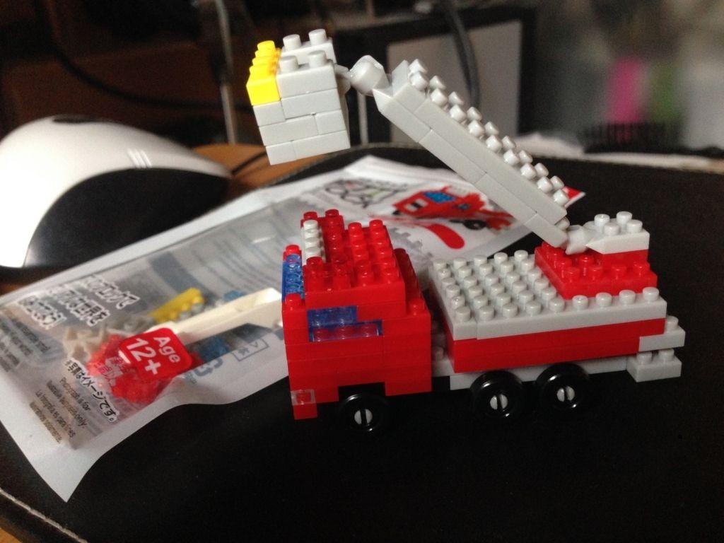 ダイソー プチブロック petit block はたらくくるま 3 消防車 うたかたの日々 はたらくくるま プチ 消防車