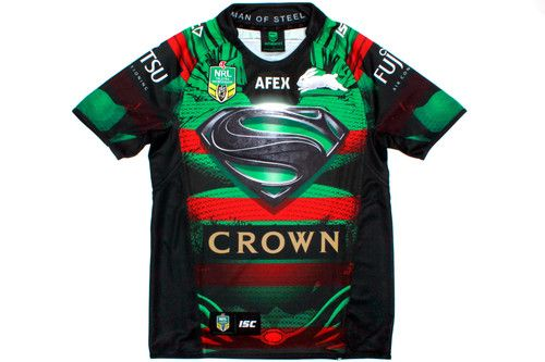 South Sydney Rabbitohs Nrl 2014 Superman Marvel Dc Comic Ltd Edition S S Replica Rugby Shirt Rugby Shirt Rugby Marvel Dc Comics