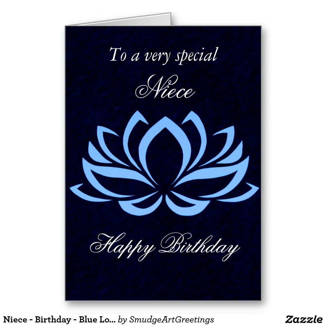 Niece Birthday Blue Lotus On Black Card Zazzle Com In 2021 Lotus Japanese Lotus Small Gift Bags [ 1104 x 1104 Pixel ]