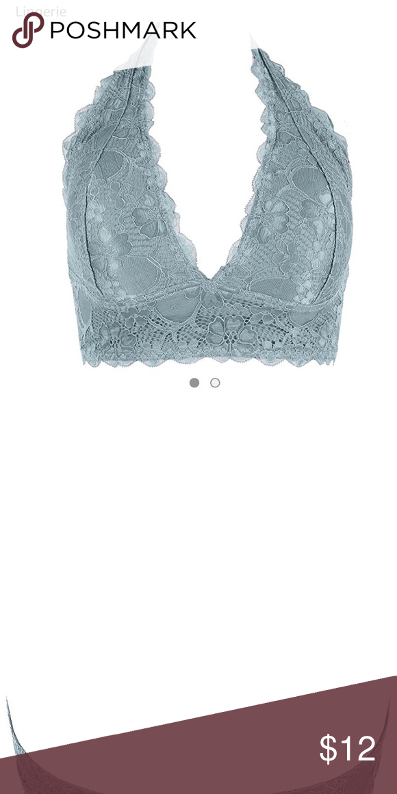 0f0bb41f29147 Worn once - Floral Lace Halter Bralette Wireless Worn and washed only once  - Like New
