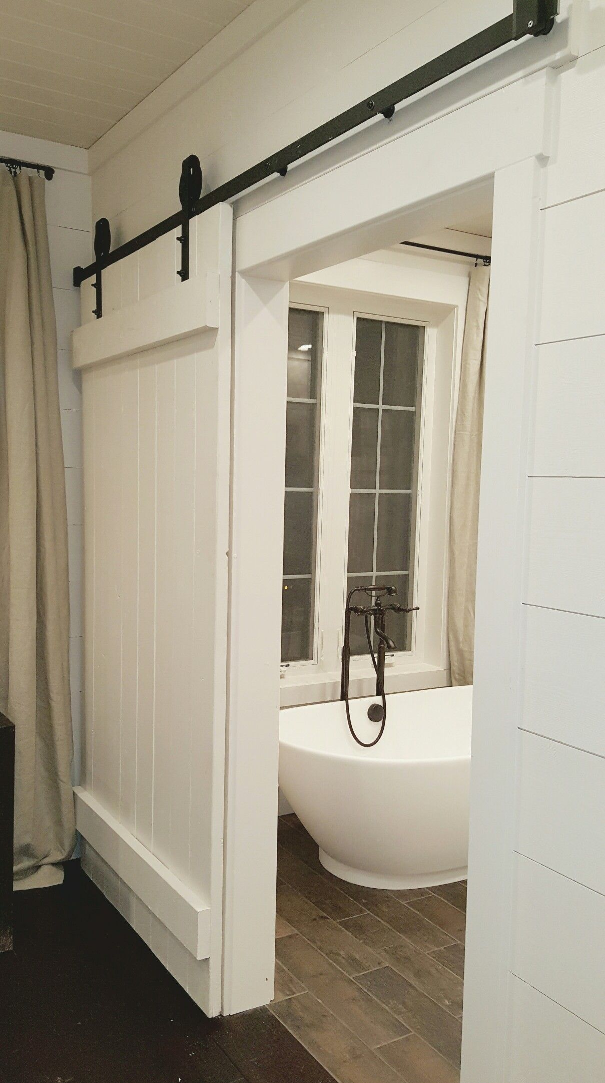 Bathroom barn doors with shiplap walls and Roman tub | Forever Home ...
