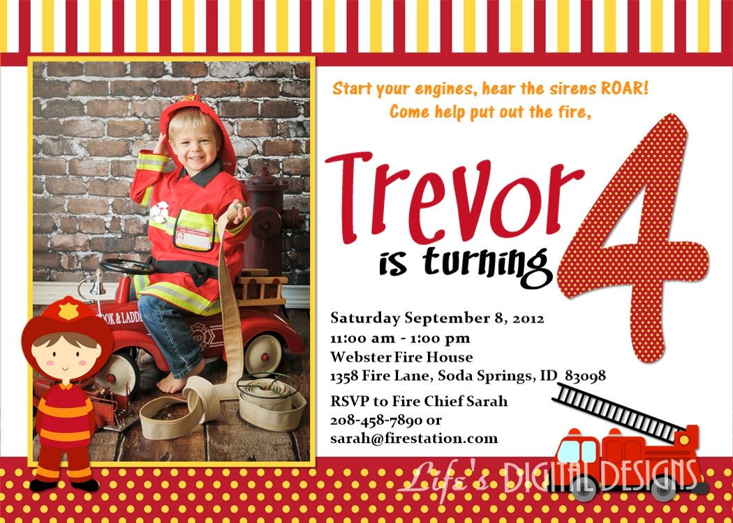 Firefighter Birthday Invitation with Photo ideas para fiestas