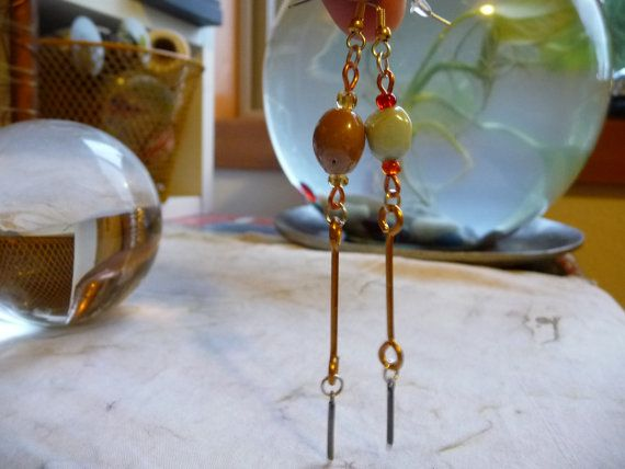 Check out Mismatched Indian Glass, Brass Barbell & Gunmetal Steel Bar Drop Charm Earrings on cherokeedancing