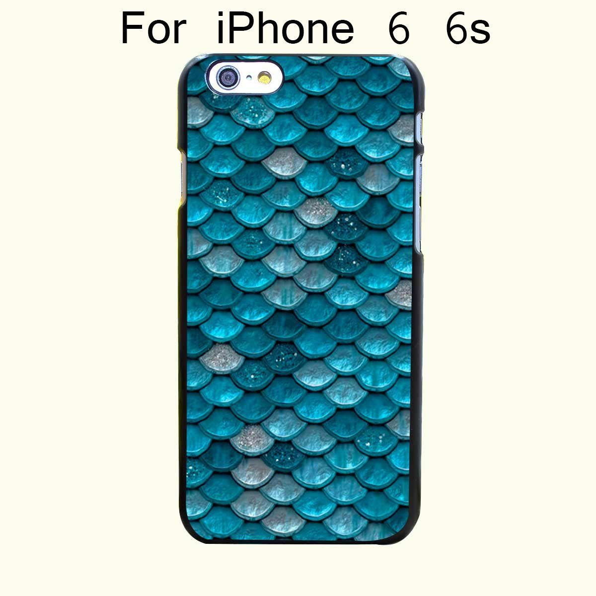 Light Turquoise Sparkling Scales Hard Black Case Cover for iPhone 4 4s 5 5s 5c 6 6s Plus Print on Black Back