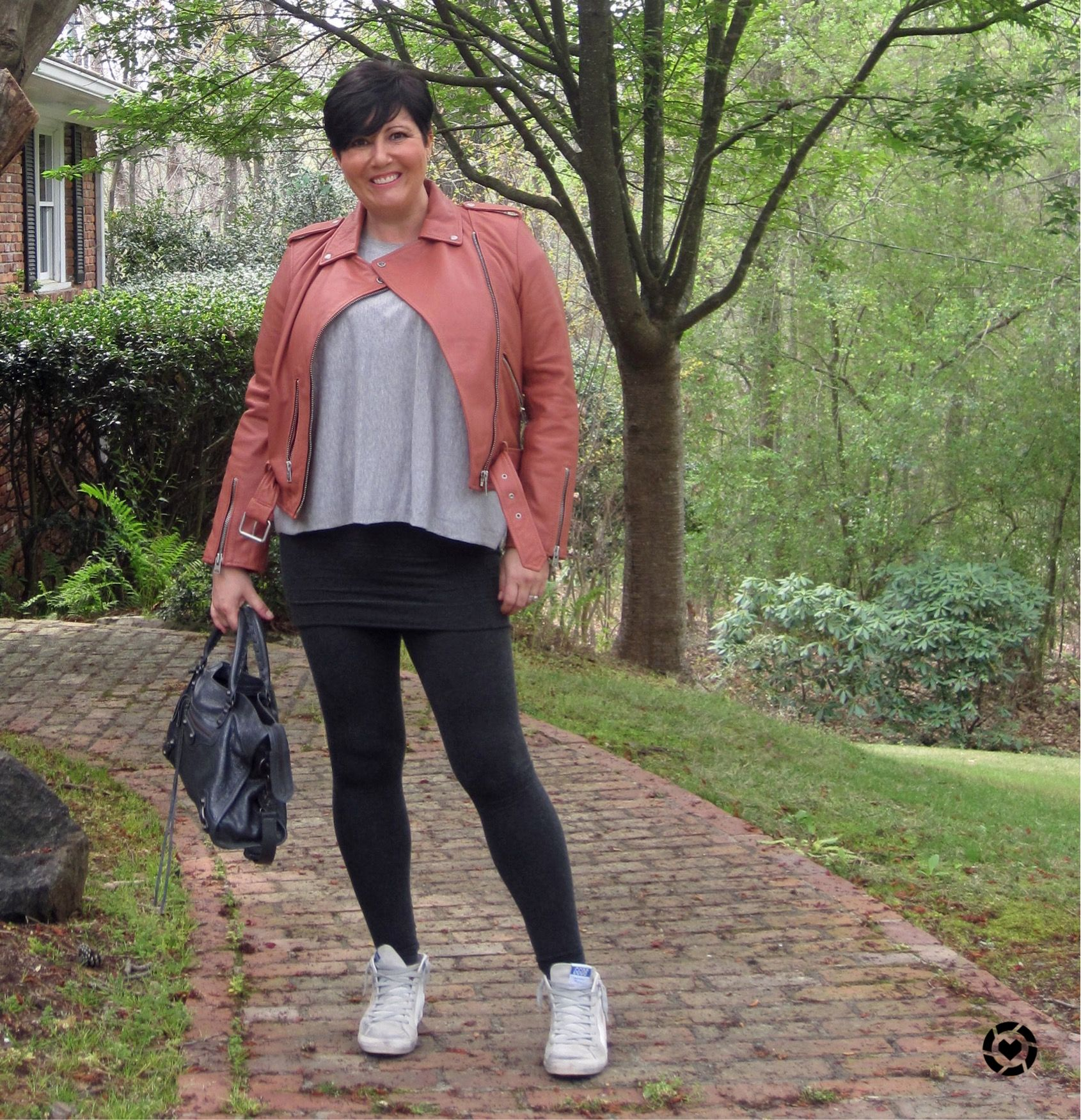 58b2f3532e446 Allsaints jacket with raffi leggings and balenciaga bag | Poppy's ...
