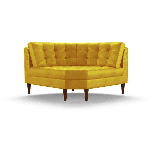 joybird eliot mid century modern yellow leather round corner chair