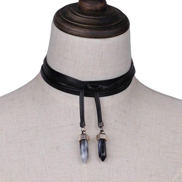 Jewelry - Quartz Stone Pendant Black Leather Band Choker NWT