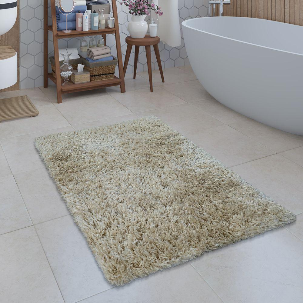 Badezimmer Teppich Shaggy Einfarbig Beige Badematten Badematte Badezimmerteppich