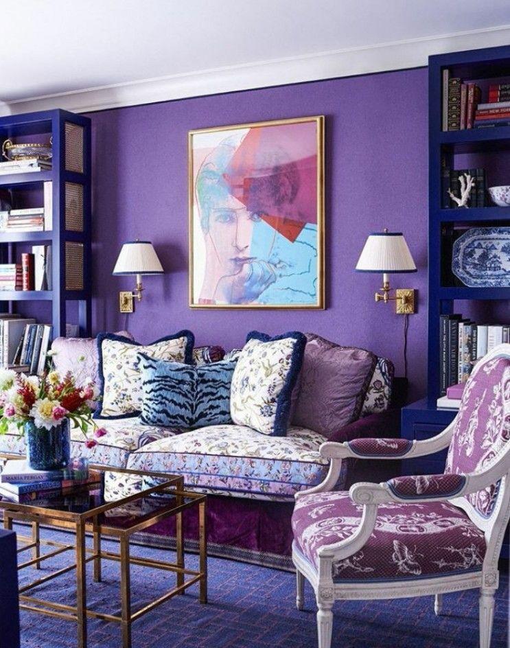 Purple Walls Navy Shelves Lots Of Pattern Decoracao De Parede Roxa Sala De Design Interiores De Quarto #purple #accent #wall #living #room