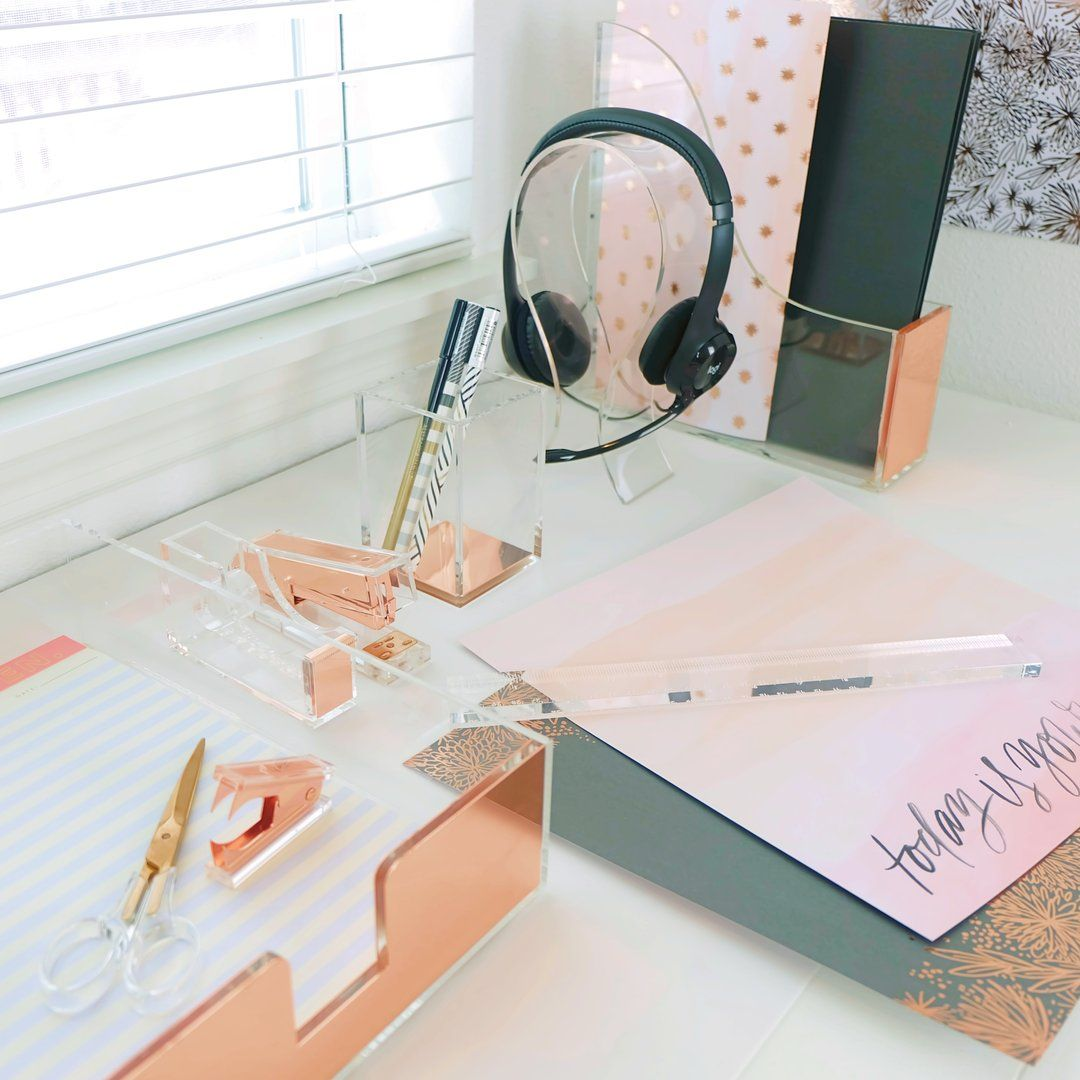 Dreamy Desk Organizer Set In Acrylic And Rose Gold Desk Organizer Set Desk Organization Gold Desk