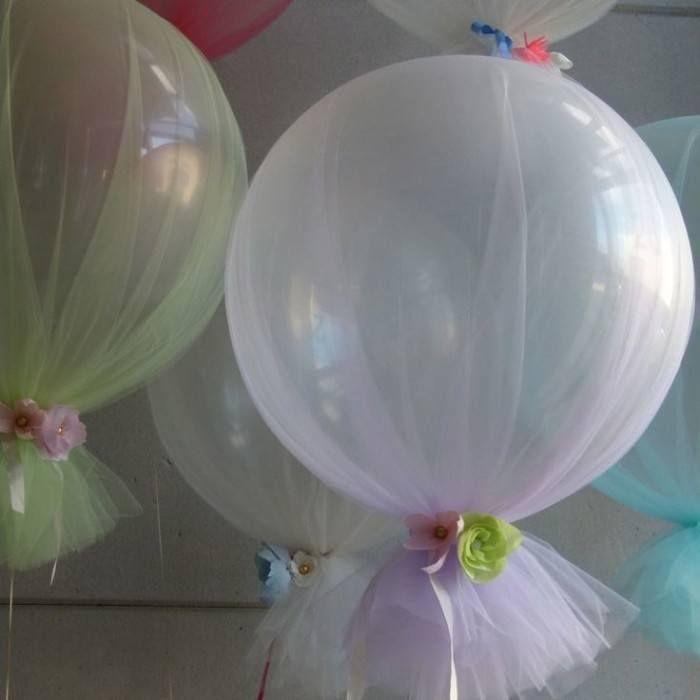 de globos con tul