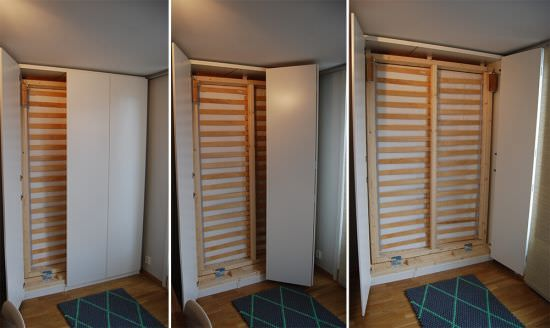 Diy Fold Down Bed Installed Behind Sliding Doors In Wall To Unit