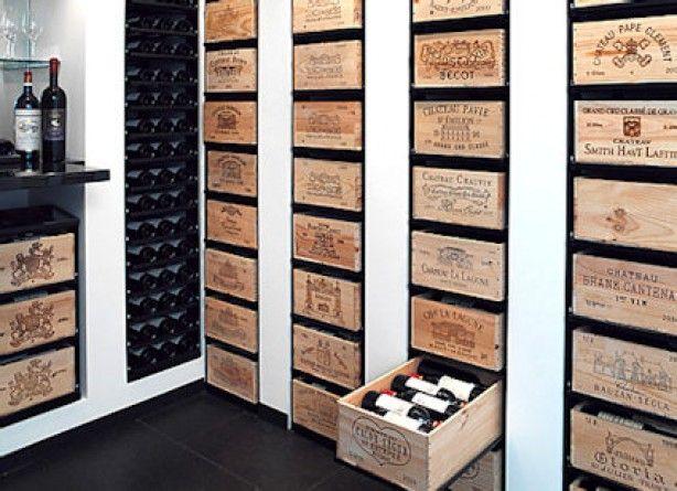 Ook leuk idee met die wijnkisten huiskamer pinterest kelder met en wijnkelder - Moderne wijnkelder ...