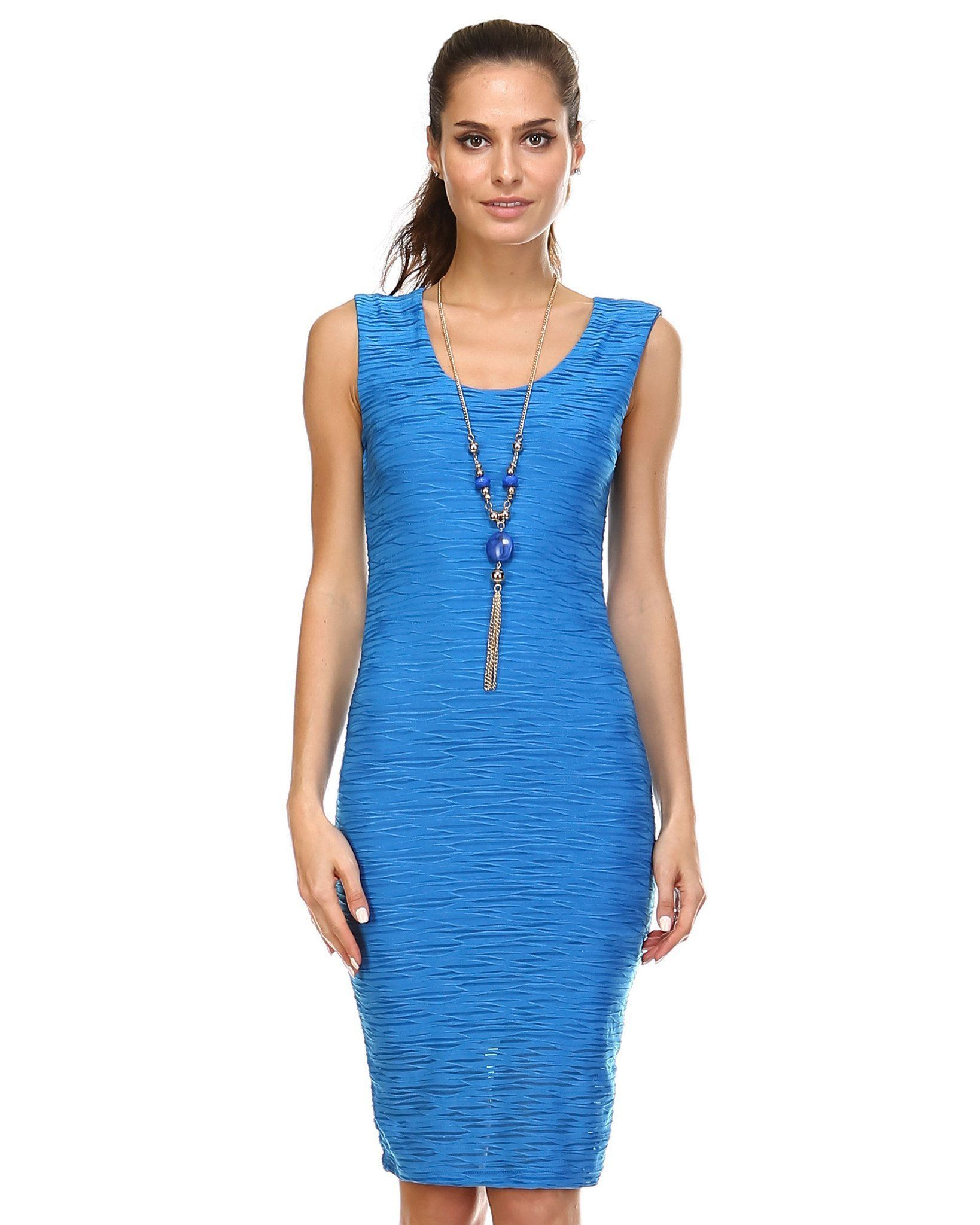 Textured Knit Form Fitting Sleeveless Dress Clothes Dresses Her