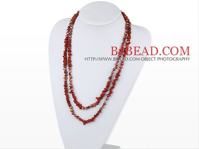 Assorted Red perla e Red Style Jasper Necklace Lunga