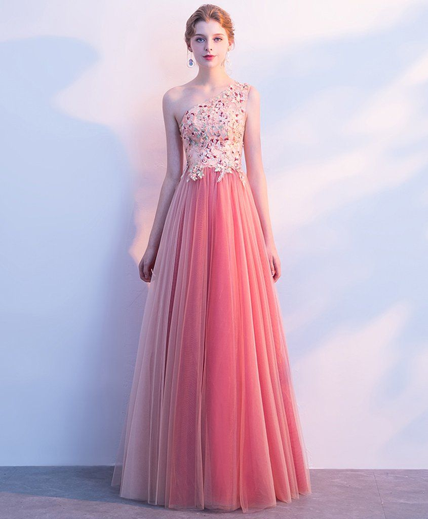 Pink tulle one shoulder appliques long prom dess pearl party dress