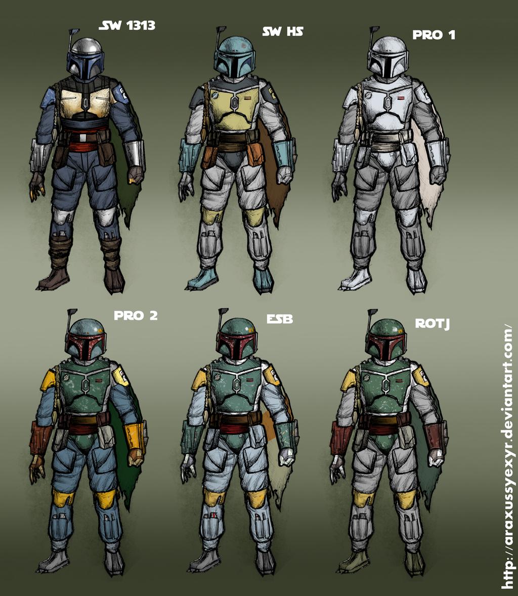 All Boba Fett color schemes by AraxussYexyr on DeviantArt