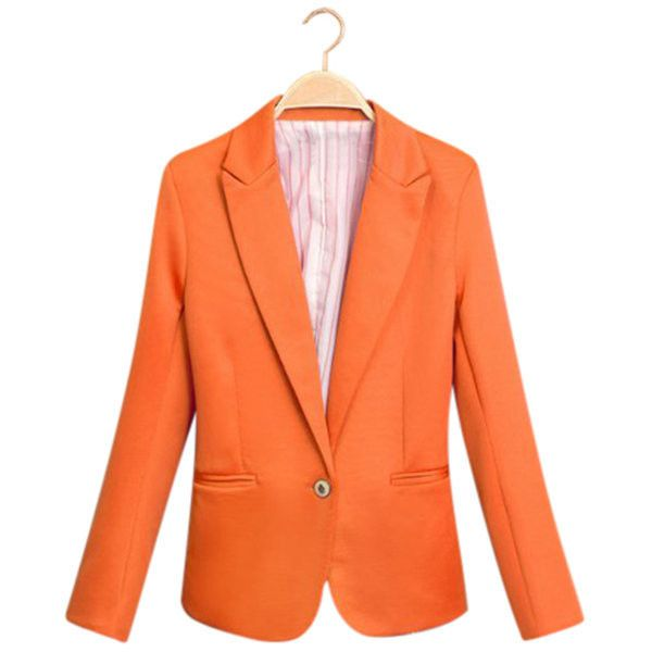 Yoins Orange Fashion Long Sleeves Collar One Botton Front Blazer ($22) ❤ liked on Polyvore featuring outerwear, jackets, blazers, orange, long sleeve jacket, collar jacket, orange jacket, blazer jacket and collar blazer