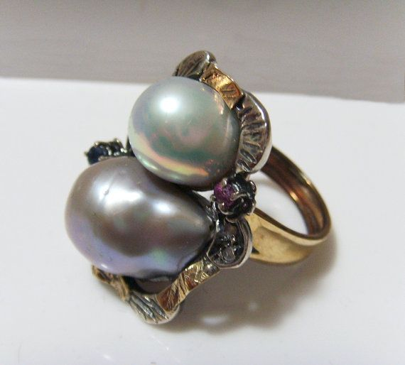 Women's handmade ring in silver and gold