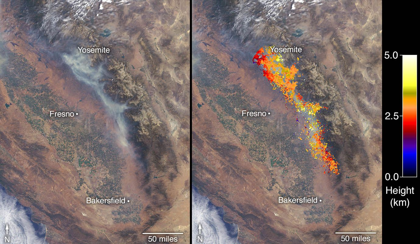 NASA's Terra satellite uses MISR to capture images of ... on large map of california, lightning strike map california, kern county california,