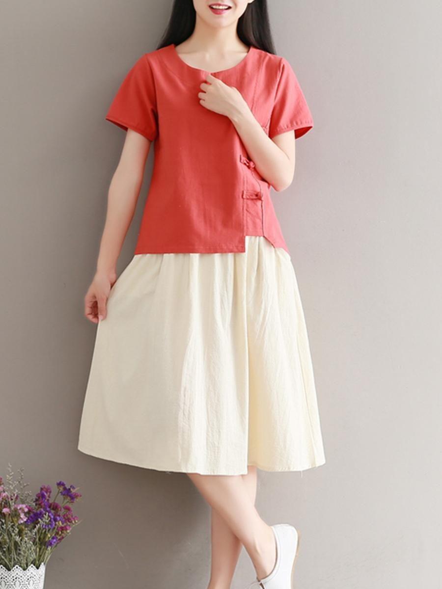 cd1c7195c6 #EnvyWe #BerryLook - #berrylook Round Neck Single Breasted Color Block Maxi  Dress - EnvyWe.com