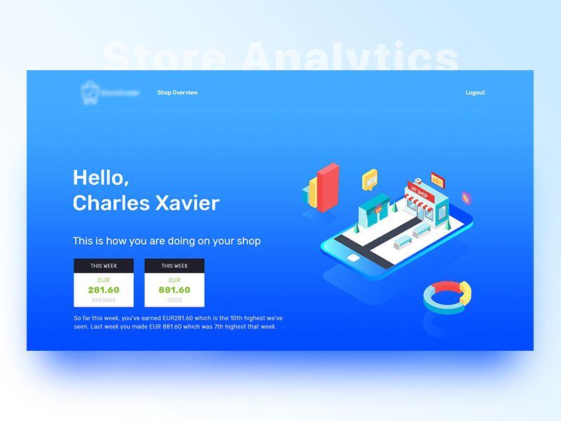Store Analytics Hero Section Web design, Hero, App design
