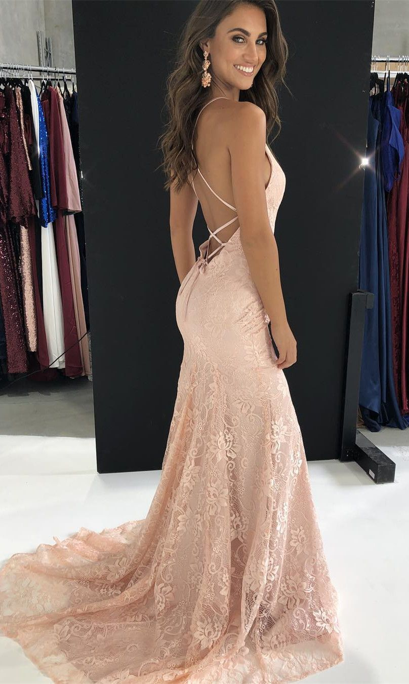 Elegant Straps Mermaid Pink Lace Long Prom Dress With ...