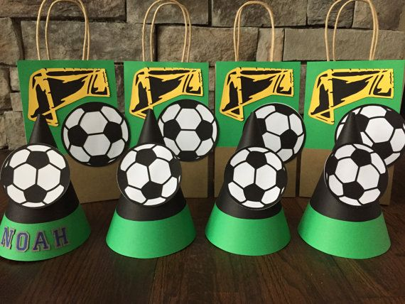 a3079c9f162b39 SOCCER Themed Party Hats and Loot Bags by LootsAndHatters on Etsy