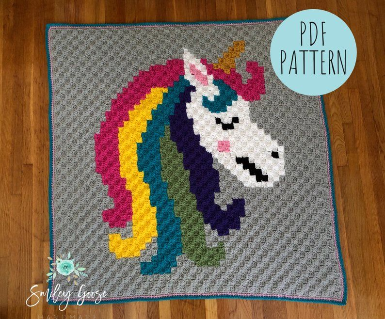 Unicorn Baby Blanket Pattern, Crochet Baby Blanket Pattern, C2C Unicorn Pattern, Unicorn Bedding, Unicorn Pattern, Unicorn Graphgan Pattern #c2cbabyblanket