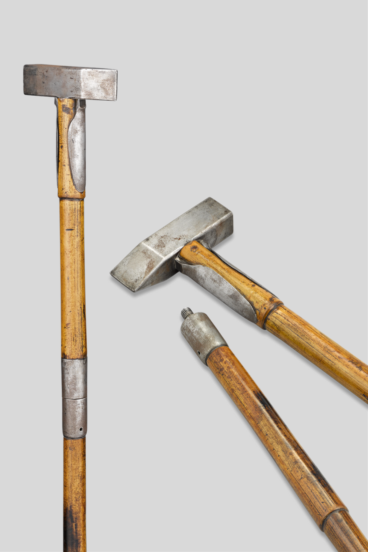 A Rock Hammer Serves As The Handle Of This Rare Geologist S Cane The Multi Purpose Tool Can Be Used To Break Apart Hard Rocks Or Sp Walking Sticks Cane Hammer