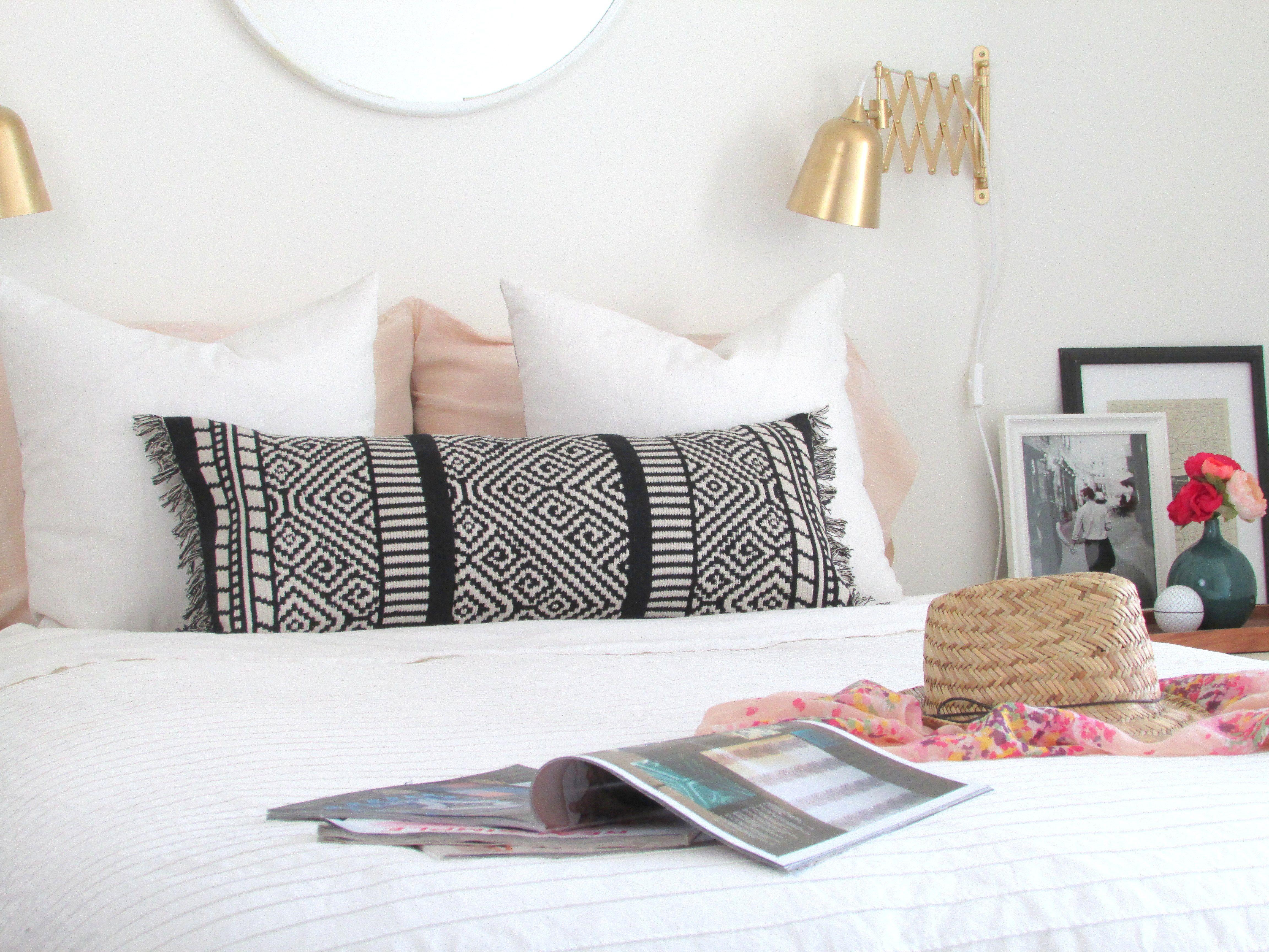 Make a boho lumbar pillow from a table runner boho pillows and craft
