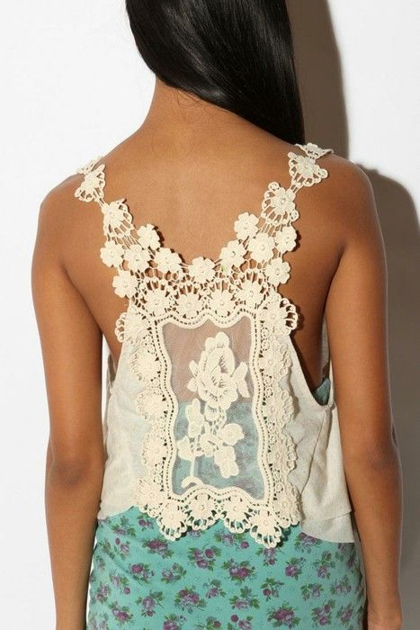 Garment Idea - beautiful rectangular doily becomes the back of a tank t-shirt and crochet flowers part of the back and straps