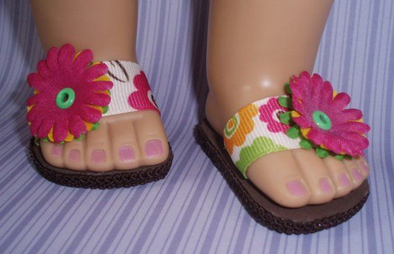 American Girl Doll Shoes Spring Flower Sandals Pink and Brown