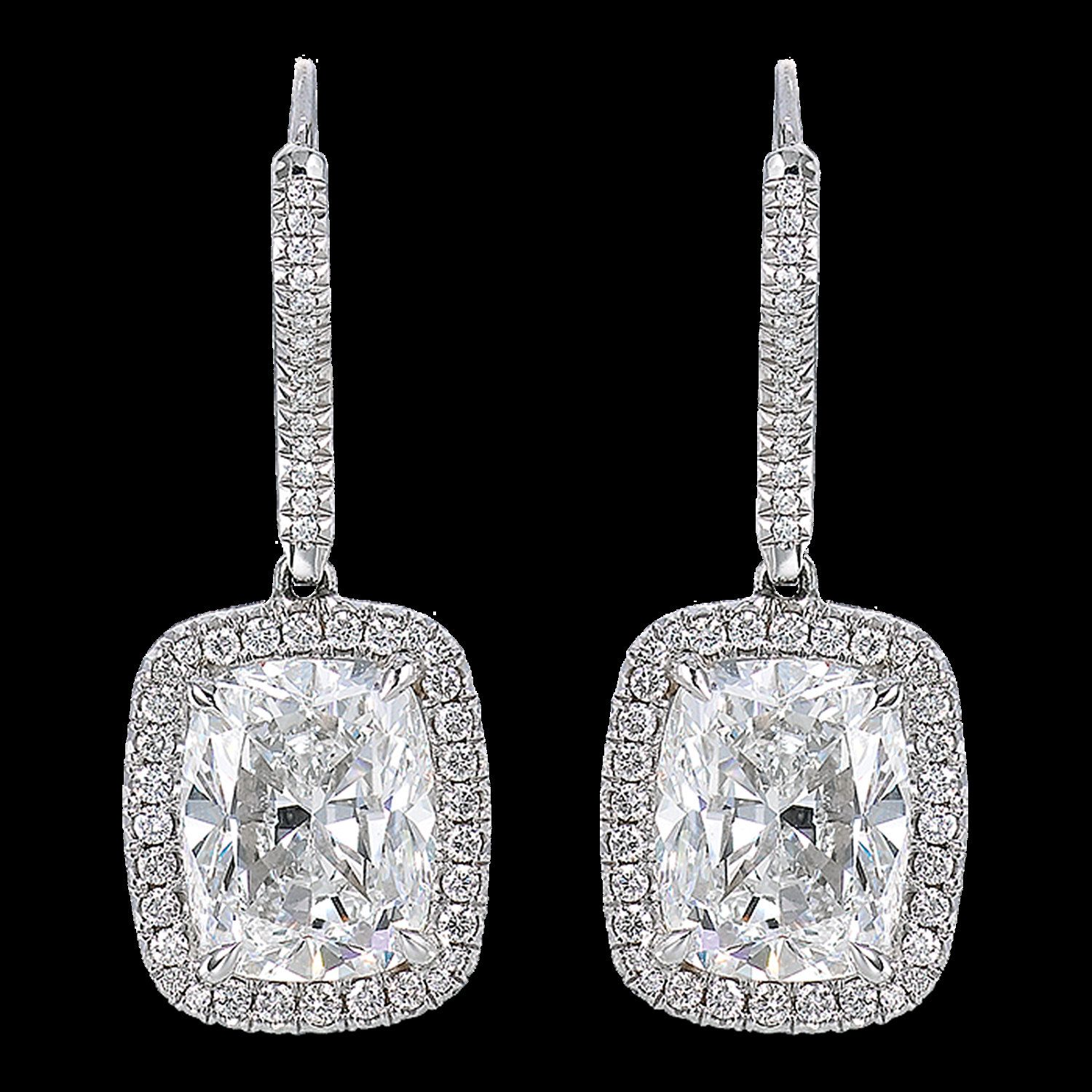 Gia Certified Flawless 2 00 Carat Cushion Cut Drop Diamond Earrings 18k White Gold By Diamondjewelersco On Etsy