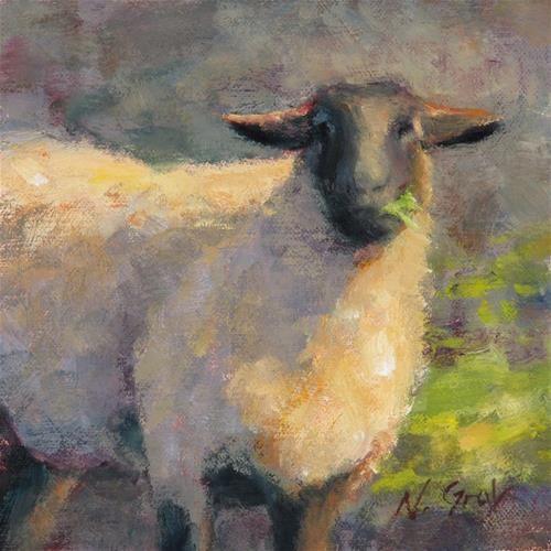 "Original Fine Art For Sale: ""Breakfast At Sheep Farm"""
